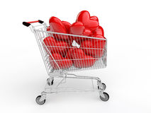 3d shopping trolley and hearts Stock Images