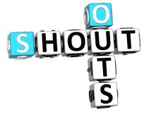 3D Shout Out Crossword cube words. On white background Stock Photos