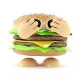 3d Shy burger. 3d render of a burger hiding his face in shame Stock Photos