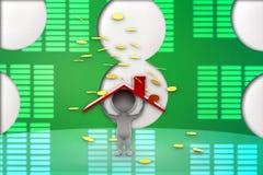 3d si dirigono l'illustrazione delle monete Fotografie Stock