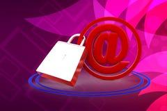 3d sichern E-Mailllustration Lizenzfreie Stockfotografie