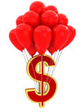 3D Sign of dollar with balloons Stock Photography
