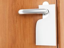 3d sign on door handle. 3d illustration. Blank sign on the door handle Royalty Free Stock Image
