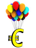 The 3d sign of the euro on the balloons Royalty Free Stock Photos