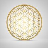 3D sign Flower Of Life gold 2 stock illustration