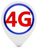 3d sign with 4G wireless technology. 3d pointer with 4G wireless technology on white background Royalty Free Stock Photo