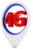 3d sign with 4G wireless technology. 3d pointer with 4G wireless technology on white background stock illustration