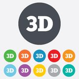 3D sign icon. 3D New technology symbol. Round colourful 11 buttons Royalty Free Stock Photos