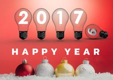 3D 2017 sign inside light bulbs with colorful christmas baubles. Against red background vector illustration