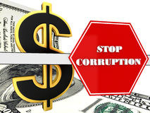 The 3d sign of `stop corruption` Stock Image