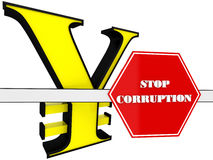 3D Sign of stop corruption Royalty Free Stock Photography
