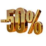 3d or 50 signe de cinquante pour cent Photographie stock libre de droits