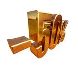 3d or 50 signe de cinquante pour cent Photos libres de droits