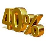 3d or 40 signe de remise de quarante pour cent illustration stock