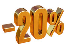 3d or 20 signe de remise de vingt pour cent Images libres de droits