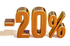 3d or 20 signe de remise de vingt pour cent illustration stock