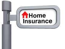 3d signpost with home insurance text Stock Photos