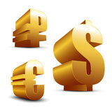 3D signs Dollar Euro and Ruble. On a white background Stock Photo