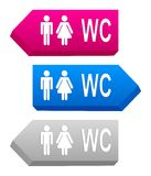 3D signs with toilet symbols. Pink, blue and gray 3D signs with toilet symbols Stock Photography