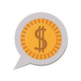 3d silhouette dialog with dollar coin Royalty Free Stock Images