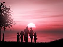 3D silhouette of a family against a sunset ocean. 3D render of a silhouette of a family against a sunset ocean Stock Illustration