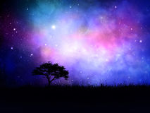 3D silhouetted tree landscape against a nebula night sky Royalty Free Stock Image