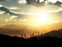 3D silhouetten van kinderen die in een zonsonderganglandschap spelen vector illustratie