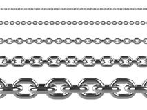 3d Silver chains of various thickness Royalty Free Stock Photography