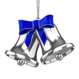 3d Silver Christmas bells with blue ribbon Stock Images