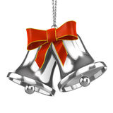 3d Silver Christmas bells with red ribbon Stock Image