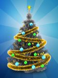 3d silver Christmas tree over blue. 3d illustration of silver Christmas tree with golden tinsel over blue background Stock Photo
