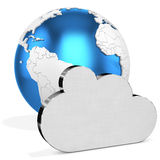 3d silver Cloud  with earth globe Stock Photo