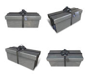 3D silver color gift box set in a rectangle. 3D Icon Design Seri Stock Image