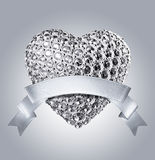 3d silver diamond heart and ribbon tag Royalty Free Stock Photography