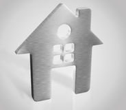3d silver house render Stock Photos