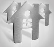 3d silver house render. Picture Royalty Free Stock Photo