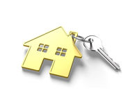 3D silver key and gold house shape key ring Stock Images
