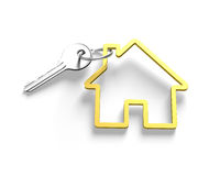 3D silver key and house shape key ring Stock Images