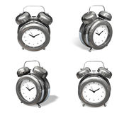 3d silver metal alarm range four set . 3D Icon Design Series. Stock Images