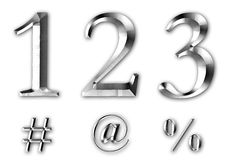 123 3D Silver Numbers Signs. 123 silver 3D numbers and numerical signs Royalty Free Stock Photography