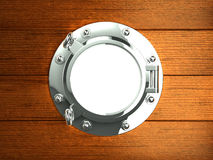 3d Silver porthole in wooden hull Stock Photo