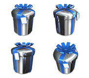 3D silver round gift box set. 3D Icon Design Series. Stock Image