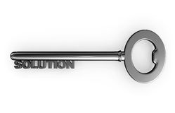 3d silver solution key. Royalty Free Stock Image