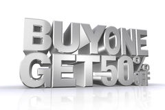 3D silver text but1 get 50 percent off. On white background with reflection Stock Photography