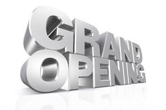 3D silver text grand opening. 3D silver text grand opening on white background with reflection Stock Photos