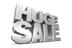 3D silver text huge sale. Royalty Free Stock Images