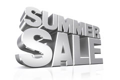 3D silver text summer sale. Stock Photography