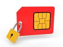 3d SIM card with padlock Royalty Free Stock Photos