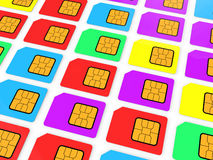 3d SIM cards. 3d render of multicolored SIM cards stock illustration