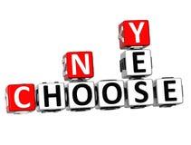 3D sim nenhuns escolhem palavras cruzadas Foto de Stock Royalty Free